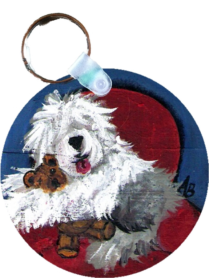 KEY CHAIN · JUST ME AND TED · OLD ENGLISH SHEEPDOG  · AMY BOLIN