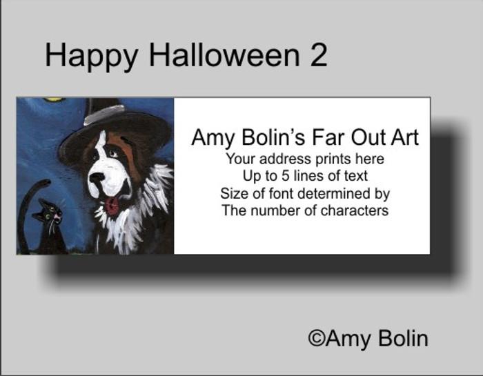 ADDRESS LABELS · HAPPY HALLOWEEN 2 · SAINT BERNARD · AMY BOLIN