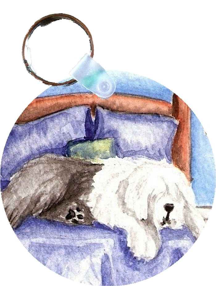 KEY CHAIN · THE KING ON HIS THRONE · OLD ENGLISH SHEEPDOG  · AMY BOLIN