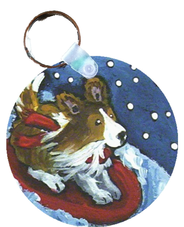 KEY CHAIN · A SNOWY RIDE · SABLE SHELTIE  · AMY BOLIN