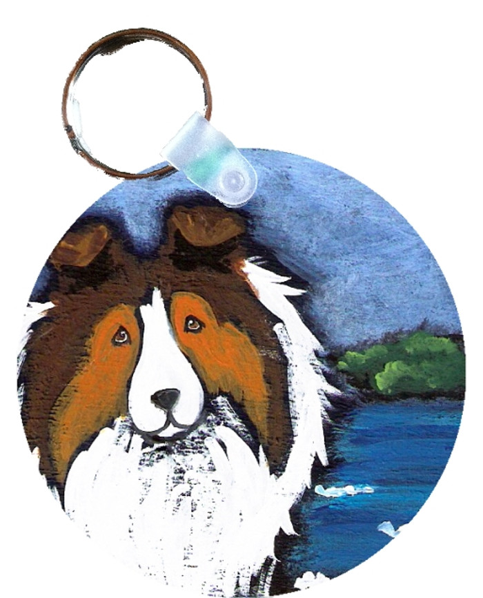 KEY CHAIN · DAY AT THE BEACH · SABLE SHELTIE  · AMY BOLIN