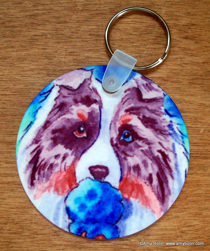 KEY CHAIN · MAKE MINE BLUE MOON · BLUE MERLE SHELTIE  · AMY BOLIN