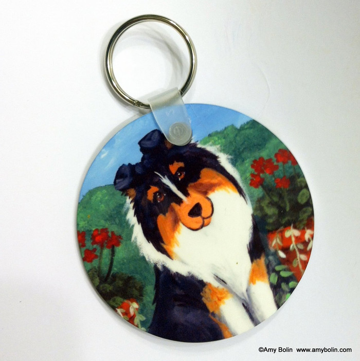 KEY CHAIN · PRETTY AS A PICTURE · TRI COLOR SHELTIE  · AMY BOLIN