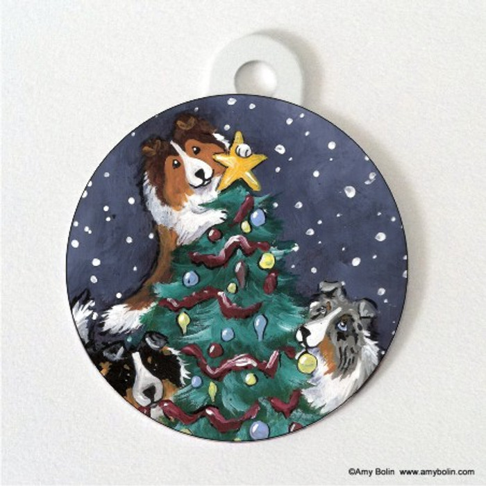 DOUBLE SIDED PET ID TAG · CHRISTMAS TOGETHER · BLUE MERLE, SABLE, TRI COLOR SHELTIES · AMY BOLIN