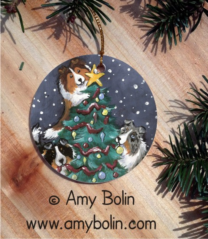 CERAMIC ORNAMENT · CHRISTMAS TOGETHER · BLUE MERLE, SABLE, TRI COLOR SHELTIES · AMY BOLIN