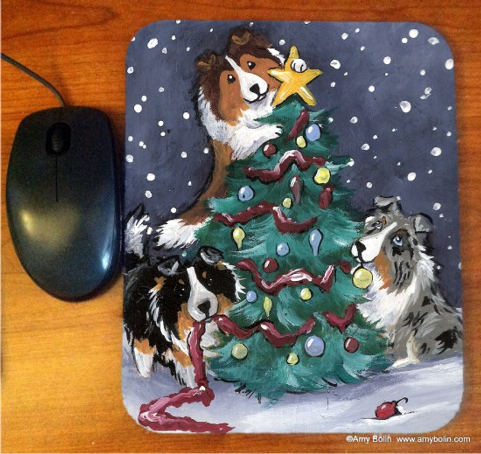 MOUSE PAD · CHRISTMAS TOGETHER · BLUE MERLE, SABLE, TRI COLOR,  SHELTIES · AMY BOLIN