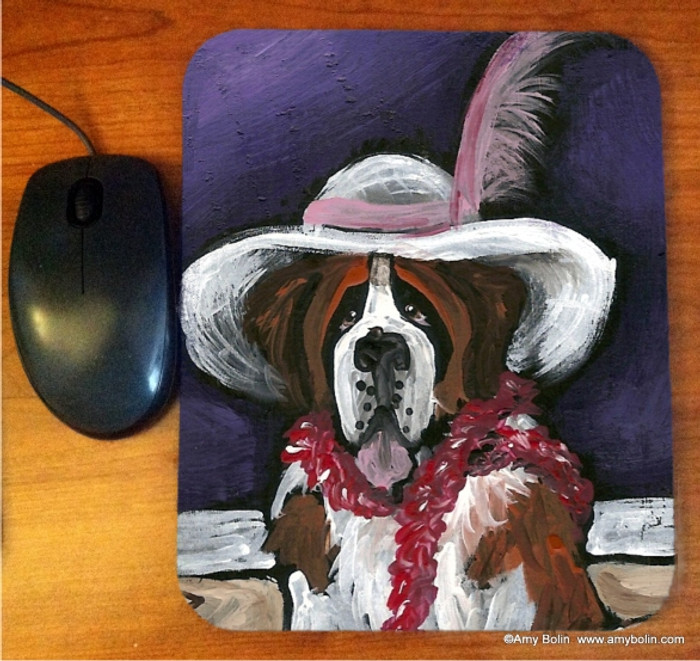 MOUSE PAD · ALL DRESSED UP WITH NOWHERE TO GO  · SAINT BERNARD · AMY BOLIN