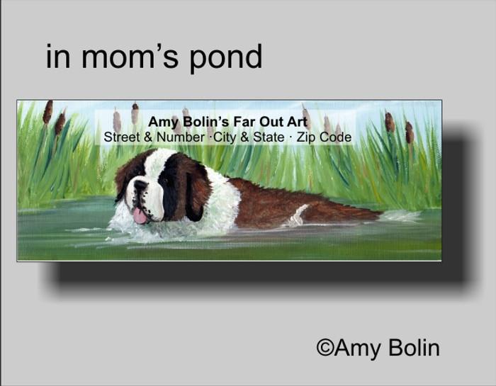ADDRESS LABELS · IN MOM'S POND · SAINT BERNARD · AMY BOLIN