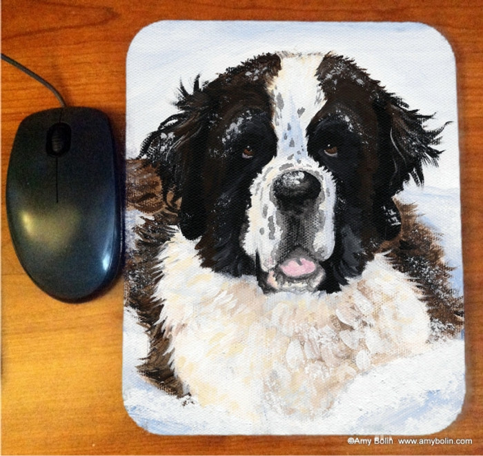 MOUSE PAD · CHARLIE'S SNOW DAY   · SAINT BERNARD · AMY BOLIN