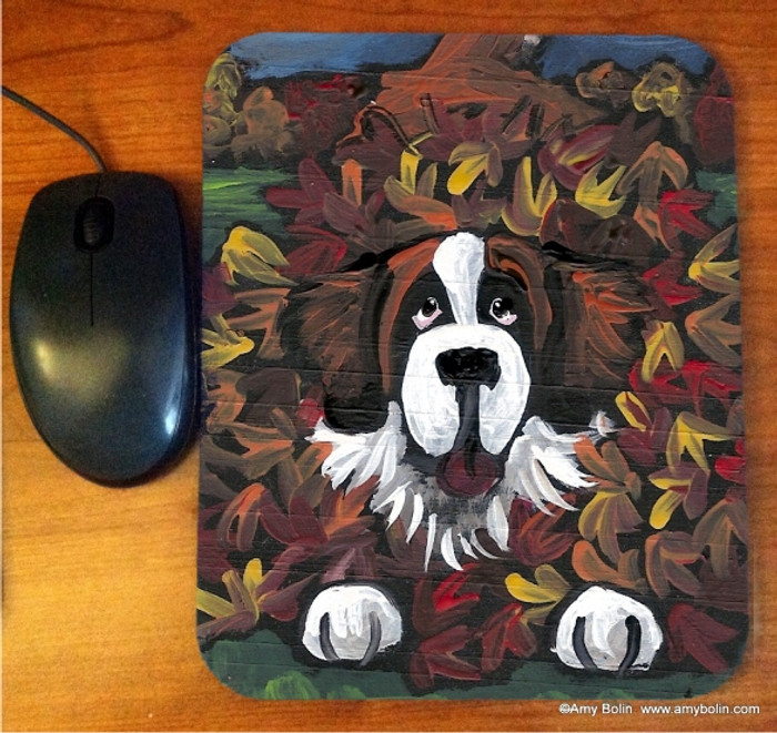MOUSE PAD · HAPINESS IS A PILE OF LEAVES · SAINT BERNARD · AMY BOLIN