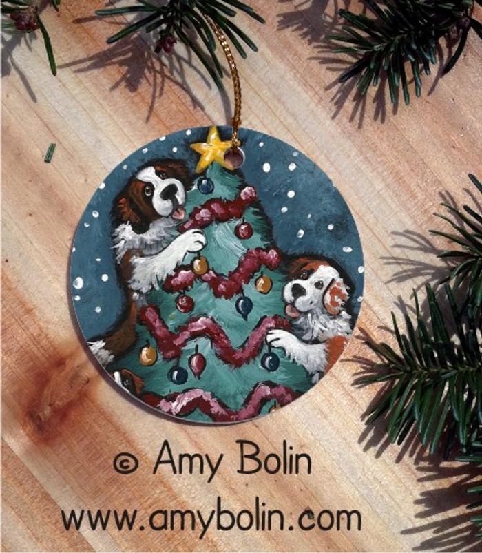 CERAMIC ORNAMENT · CHRISTMAS TOGETHER · SAINT BERNARD · AMY BOLIN