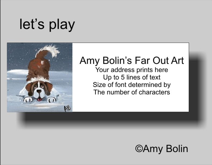 ADDRESS LABELS · LET'S PLAY · SAINT BERNARD · AMY BOLIN