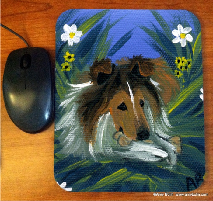 MOUSE PAD · A SECRET TREAT · SABLE  SHELTIE · AMY BOLIN