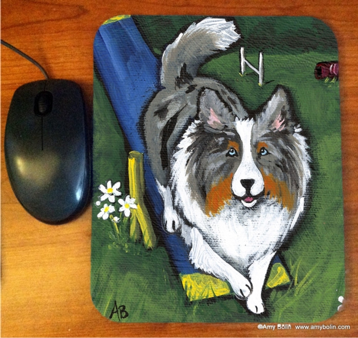 MOUSE PAD · AGILITY KING · BLUE MERLE SHELTIE · AMY BOLIN