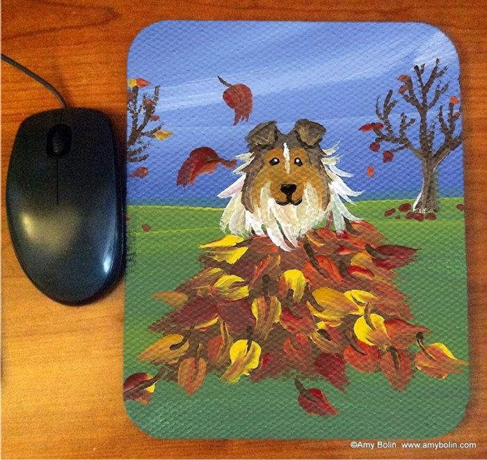 MOUSE PAD · AUTUMN'S SIMPLE PLEASURES · SABLE SHELTIE · AMY BOLIN