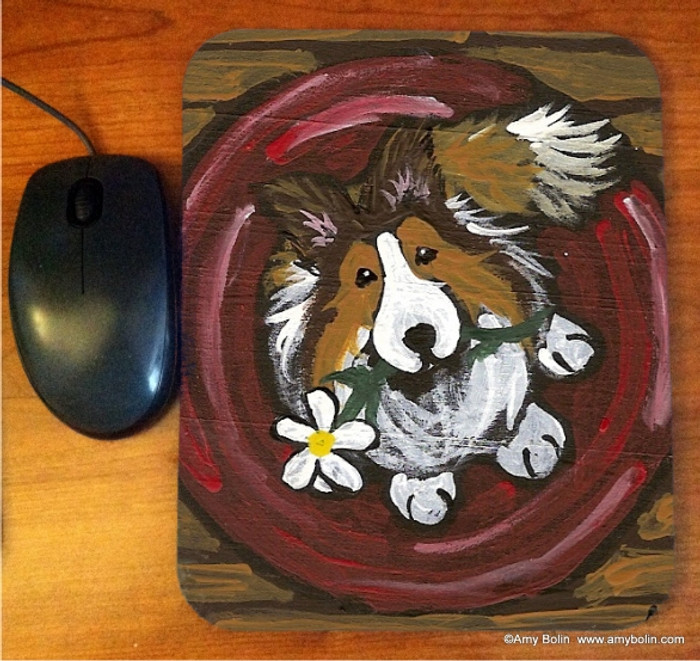 MOUSE PAD · BE MINE · SABLE SHELTIE · AMY BOLIN