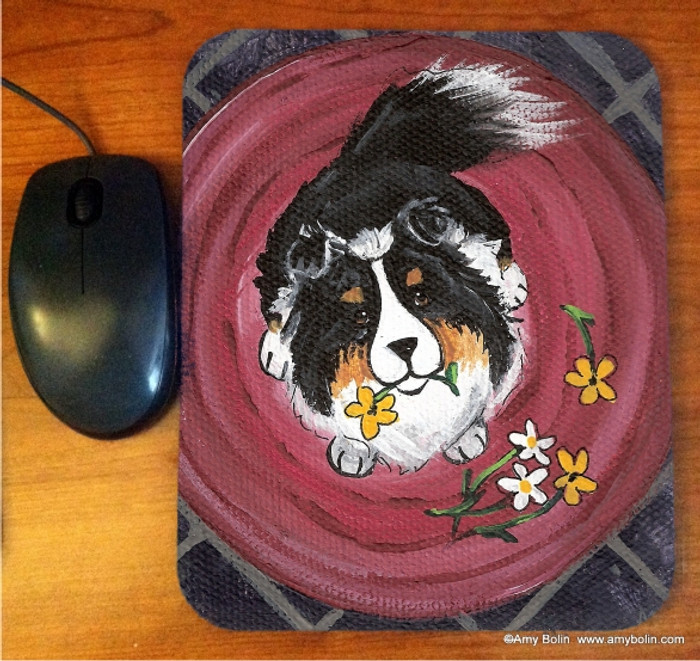 MOUSE PAD · BE MINE · TRI COLOR SHELTIE · AMY BOLIN
