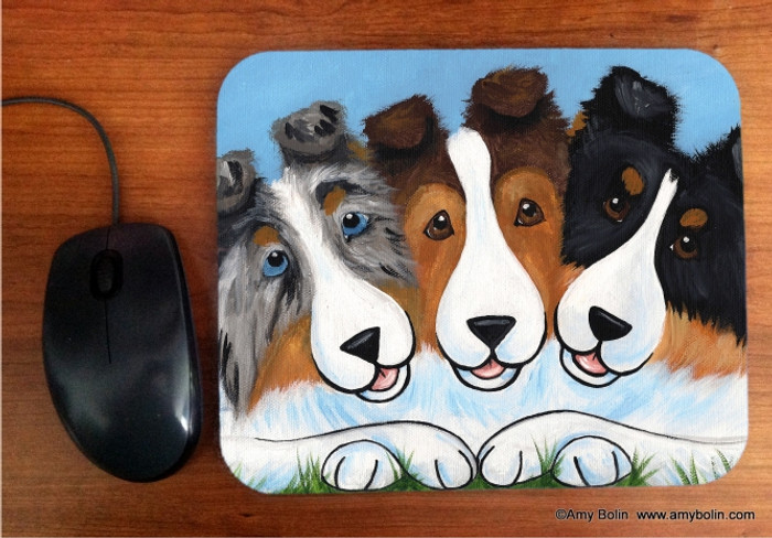 MOUSE PAD · BFF'S · BLUE MERLE, SABLE, TRI COLOR SHELTIE · AMY BOLIN