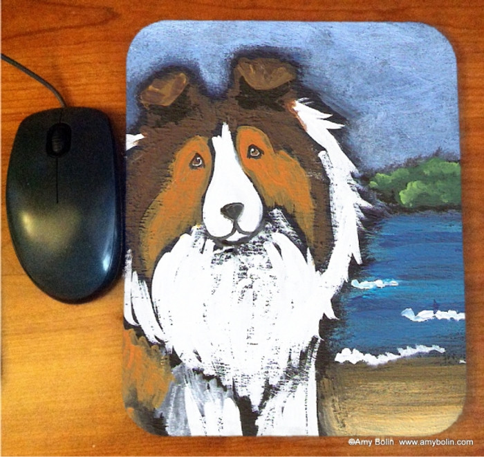 MOUSE PAD · A DAY AT THE BEACH · SABLE SHELTIE · AMY BOLIN