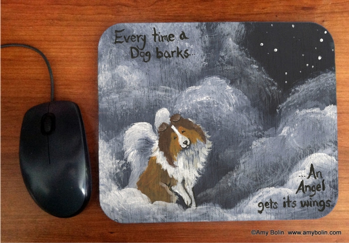 MOUSE PAD · DOG BARKS & ANGEL WINGS · SABLE SHELTIE · AMY BOLIN
