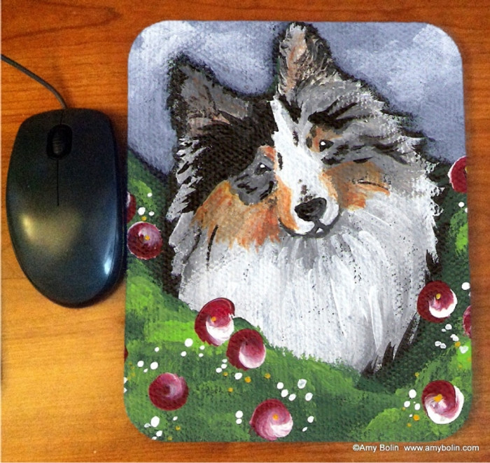 MOUSE PAD · ELLA · BLUE MERLE SHELTIE · AMY BOLIN