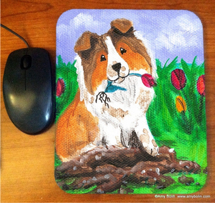 MOUSE PAD · LITTLE GARDENER · SABLE SHELTIE · AMY BOLIN