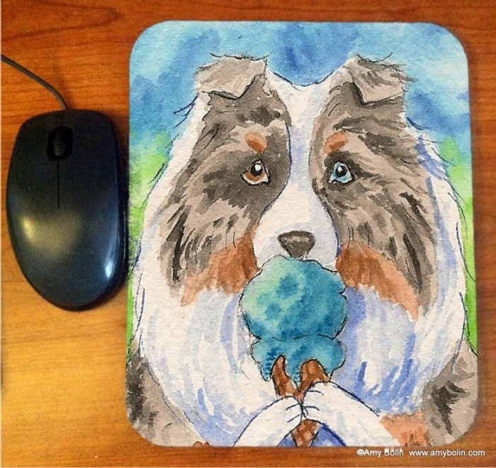 MOUSE PAD · MAKE MINE BLUE MOON · BLUE MERLE SHELTIE · AMY BOLIN