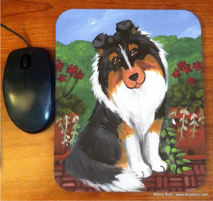 MOUSE PAD · PRETTY AS A PICTURE · TRI COLOR SHELTIE · AMY BOLIN