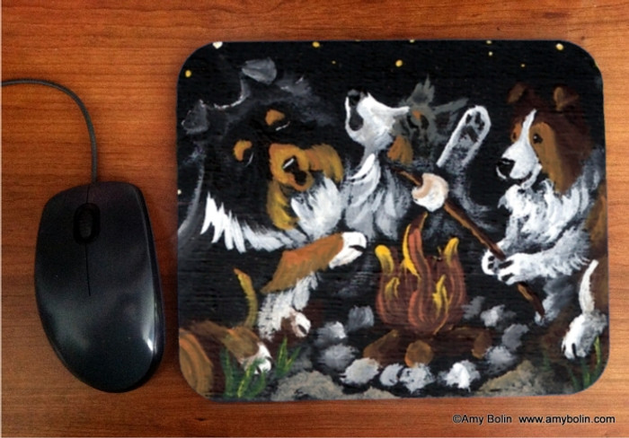 MOUSE PAD · SHELTIES  AROUND THE CAMPFIRE · BLUE MERLE, SABLE, TRI COLOR SHELTIE · AMY BOLIN