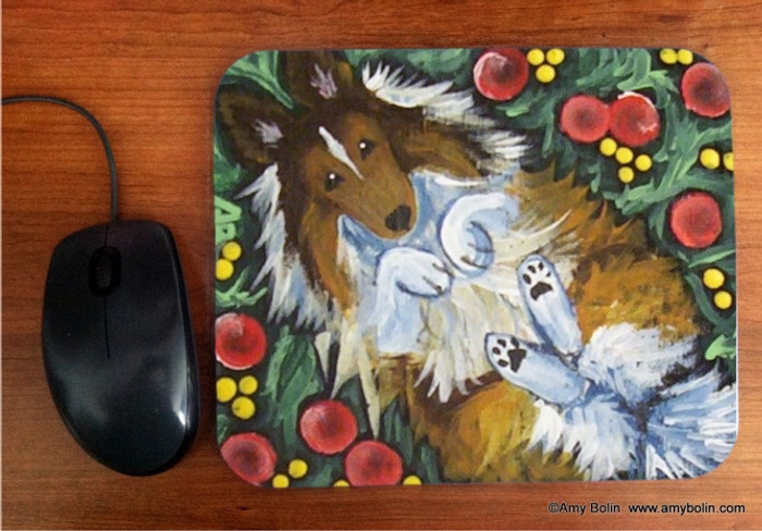 MOUSE PAD · SPRING FEVER · SABLE SHELTIE · AMY BOLIN