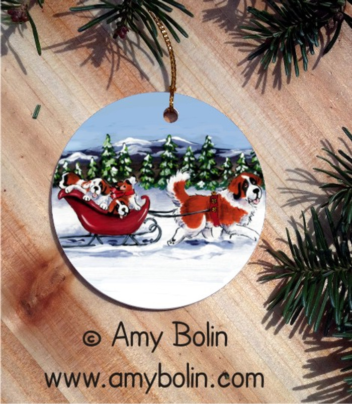 CERAMIC ORNAMENT · A WINTRY RIDE · SAINT BERNARD · AMY BOLIN