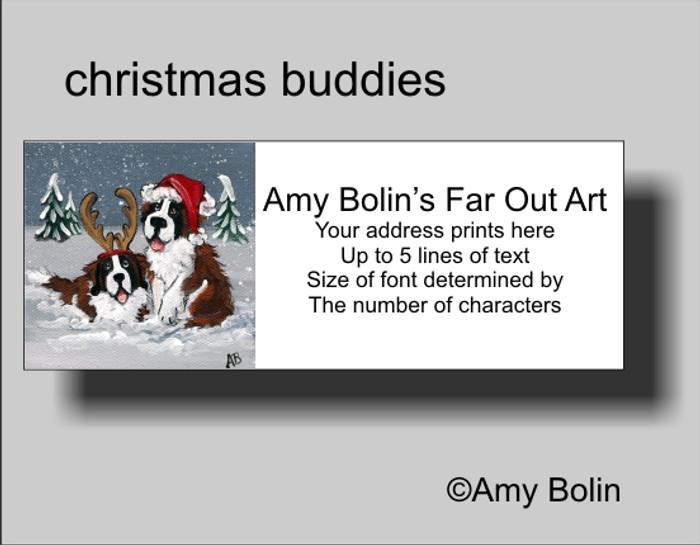 ADDRESS LABELS · CHRISTMAS BUDDIES · SAINT BERNARD · AMY BOLIN