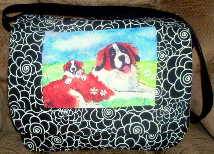 """Quilted Mailbag   """"Mommy & Me""""   Saint Bernard   By Dawn Johnson"""
