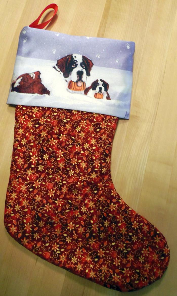 """Zeus and Ursa""    Saint Bernard Quilted Christmas Stocking By Dawn Johnson"