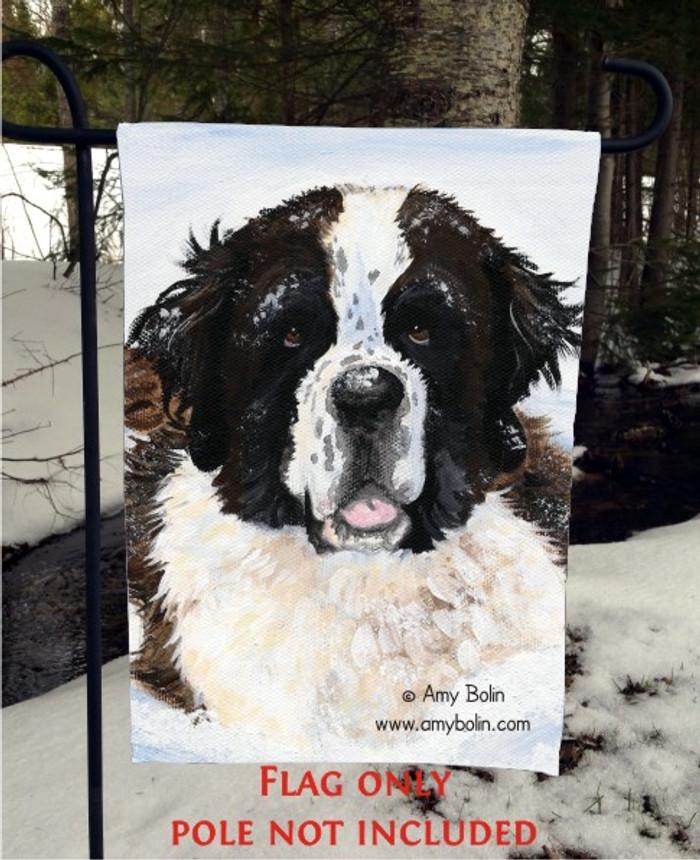 GARDEN FLAG · CHARLIE'S SNOW DAY · SAINT BERNARD · AMY BOLIN