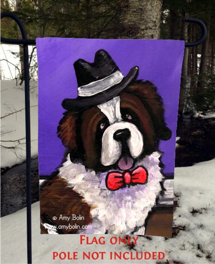 GARDEN FLAG · DAPPER DOG · SAINT BERNARD · AMY BOLIN