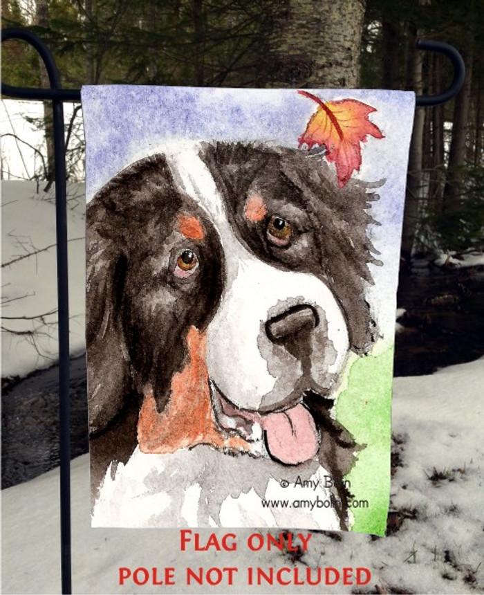 GARDEN FLAG · AUTUMN BERNER · BERNESE MOUNTAIN DOG · AMY BOLIN