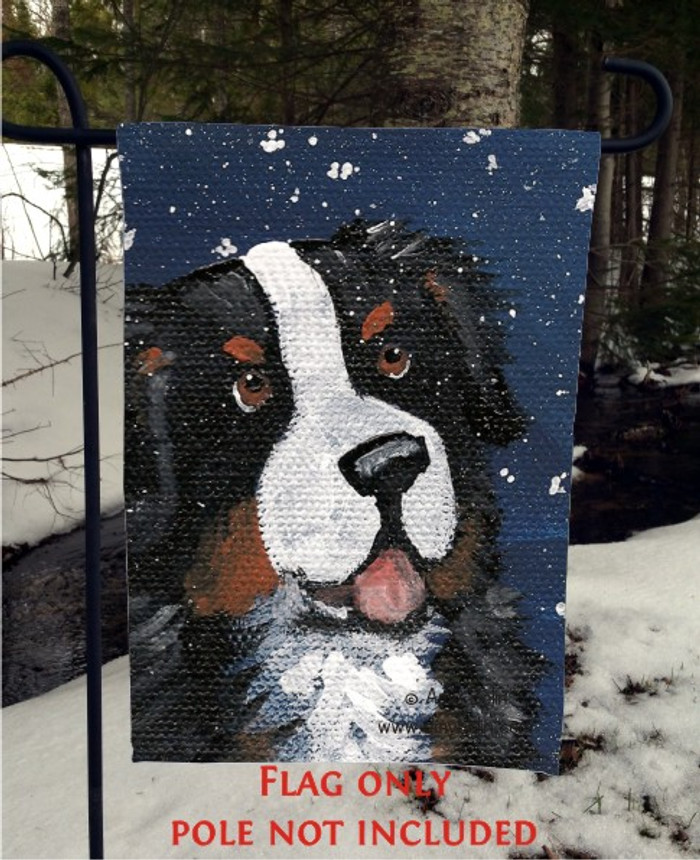 GARDEN FLAG · COUNTING SNOWFLAKES · BERNESE MOUNTAIN DOG · AMY BOLIN