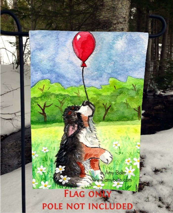 GARDEN FLAG · FLY AWAY · BERNESE MOUNTAIN DOG · AMY BOLIN