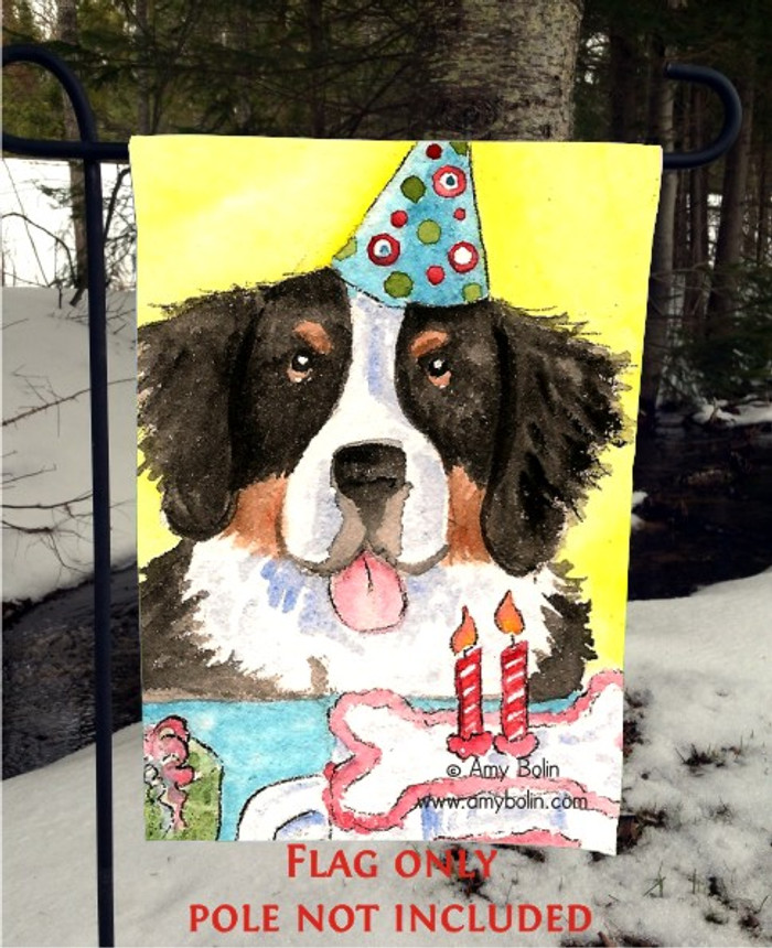 GARDEN FLAG · HAPPY BIRTHDAY TO YOU · BERNESE MOUNTAIN DOG · AMY BOLIN