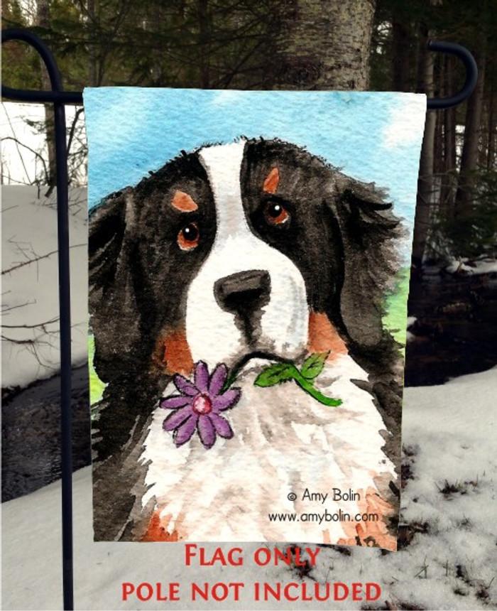 GARDEN FLAG · I SAW THIS FLOWER · BERNESE MOUNTAIN DOG · AMY BOLIN