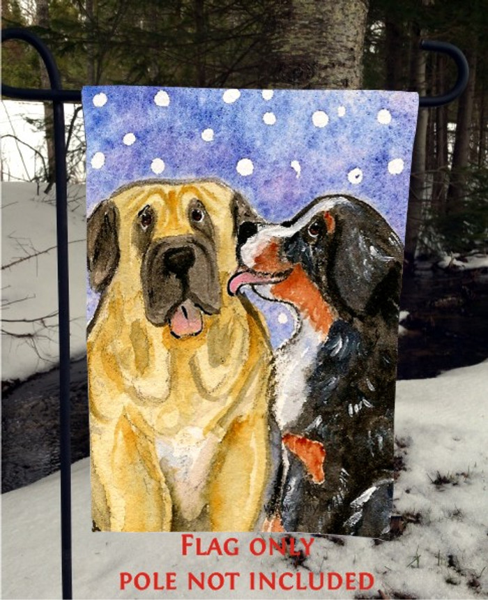 GARDEN FLAG · LITTLE KISS · BERNESE MOUNTAIN DOG, MASTIFF · AMY BOLIN