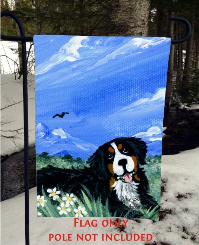 GARDEN FLAG · MOUNTAIN HOME · BERNESE MOUNTAIN DOG · AMY BOLIN