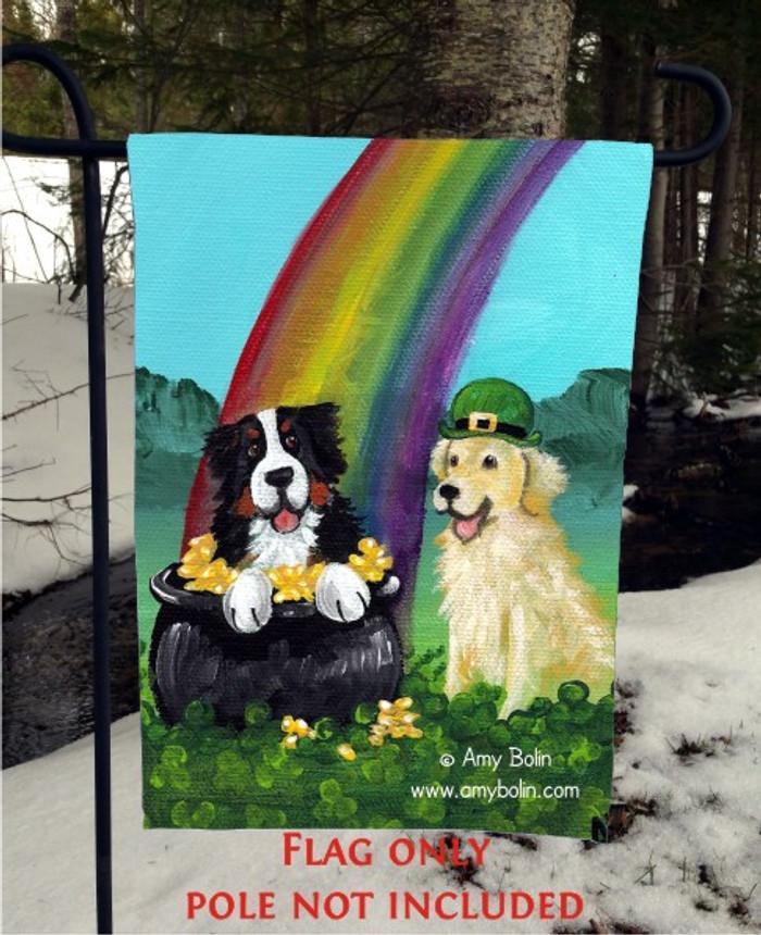 GARDEN FLAG · MY POT O GOLD · BERNESE MOUNTAIN DOG, GOLDEN RETRIEVER · AMY BOLIN