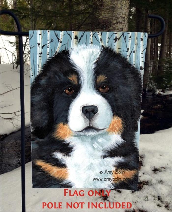 GARDEN FLAG · PUPPY EYES · BERNESE MOUNTAIN DOG · AMY BOLIN