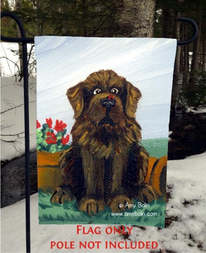GARDEN FLAG · A LITTLE VISITOR · BROWN NEWFOUNDLAND · AMY BOLIN