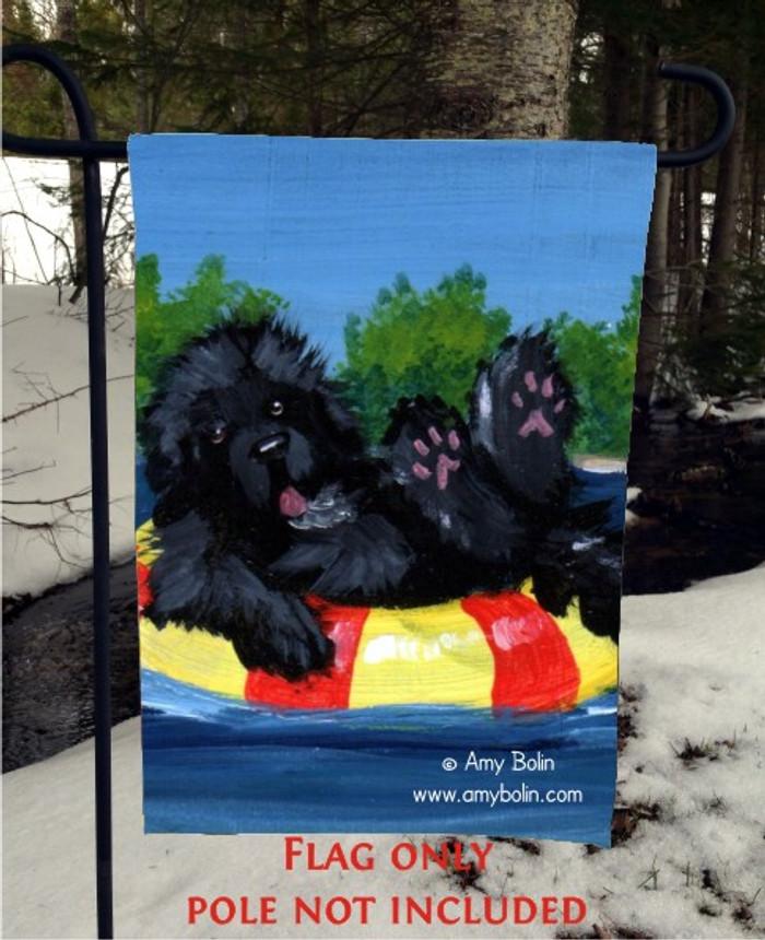 GARDEN FLAG · DOG DAYS · BLACK NEWFOUNDLAND · AMY BOLIN