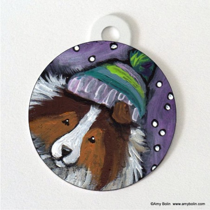 DOUBLE SIDED PET ID TAG · SNOWY WEATHER · SABLE SHELTIE · AMY BOLIN