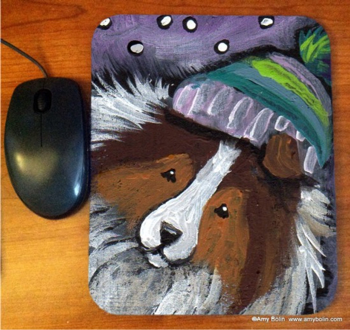 MOUSE PAD ·SNOWY WEATHER · SABLE SHELTIE · AMY BOLIN