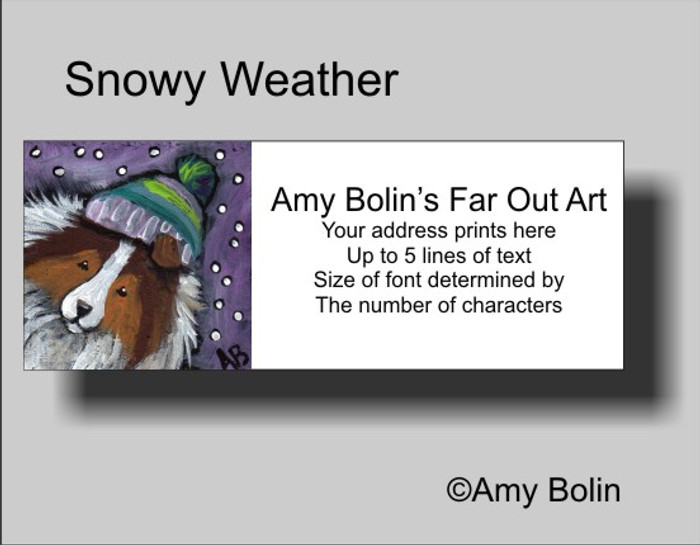 ADDRESS LABELS · SNOWY WEATHER · SABLE SHELTIE · AMY BOLIN